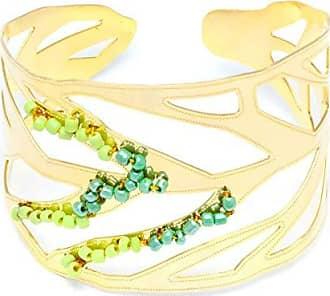 Tinna Jewelry Pulseira Dourada Folha Maravilha Com Miçangas Verdes