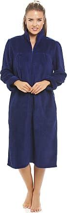 Camille Soft Fleece Navy Blue Zip Front House Coat 14/16