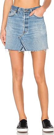 Re/Done Levis High Waist Mini Skirt in Blue