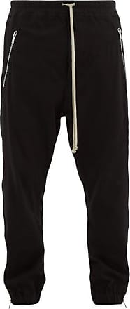 Rick Owens Side-zip Cotton Track Pants - Mens - Black