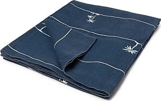 Onia Printed Linen Beach Blanket - Navy