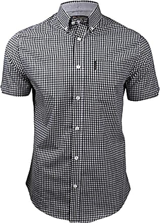 Ben Sherman Short Sleeve Shirt House Check Button Down Collar (MA00576) Black/White (Small)