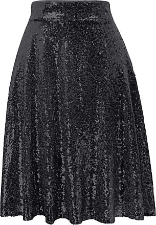 Grace Karin Stylish Womens Black Skirt Ladies Girls Metallic Pleated Spring Summer Elegant Party Midi Skirt L