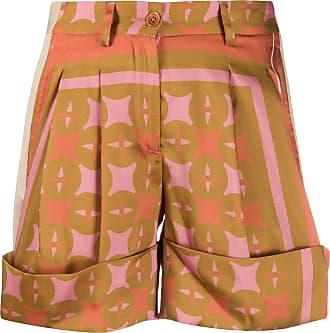JEJIA Short cintura alta com estampa geométrica - Marrom