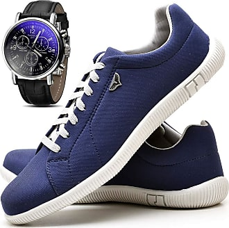 Juilli Kit Sapatênis Sapato Casual Com Relógio Masculino JUILLI 900DB Tamanho:37;cor:Azul;gênero:Masculino