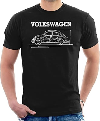 Volkswagen Beetle White Technical Diagram Mens T-Shirt