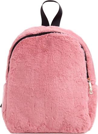 Girly HandBags Girly HandBags Womens Plain Fur Backpack - Pink