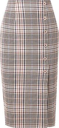 Veronica Beard Melor Checked Cotton-blend Midi Skirt - Brown