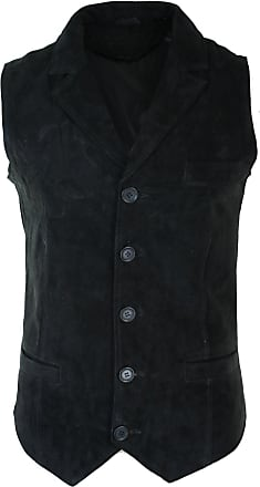 Infinity Mens Real Suede Leather Tan Brown Black Smart Casual Gilet Waistcoat Vintage Retro