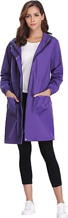 Abollria Womens Raincoat Waterproof Hooded Lightweight Rain Jacket Active Outdoor Windbreaker Trench Coats Purple