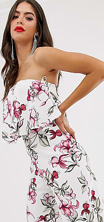 Missguided Tall bandeau culotte jumpsuit in white floral-Multi