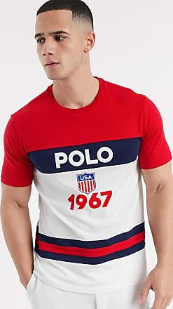 Polo Ralph Lauren T-shirt rossa color block con logo sul petto-Rosso