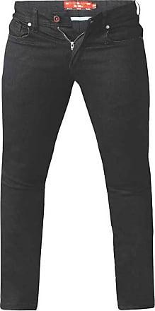 Duke London Duke Mens D555 Claude Tapered Fit Stretch Jeans-Black-52W X 32L