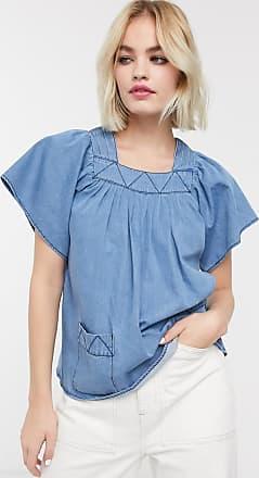 Whistles square neck denim blouse-Blue