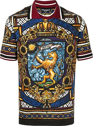 Dolce & Gabbana Camisa polo com estampada de leão - Preto