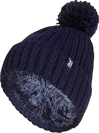 Heat Holders Ladies Thick Chunky Ribbed Cuffed Thermal Insulated Winter Pom Pom Bobble Hat (One Size, Navy (Arden))