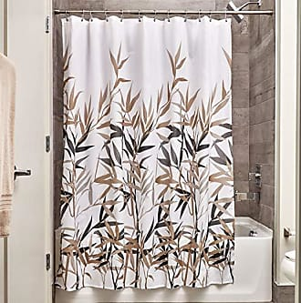InterDesign InterDesign Anzu Fabric Shower Curtain Water-Repellent and Mold- and Mildew-Resistant for Master, Guest, Kids, College Dorm Bathroom, 72 x 72, Black and Tan