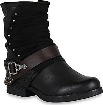 1c6a85acee3d81 Stiefelparadies Damen Biker Boots Rockige Stiefeletten Stiefel Leicht  148353 Schwarz Schnallen 36 Flandell