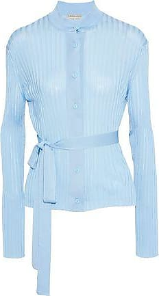 Emilio Pucci Emilio Pucci Woman Belted Embroidered Ribbed-knit Cardigan Sky Blue Size XS