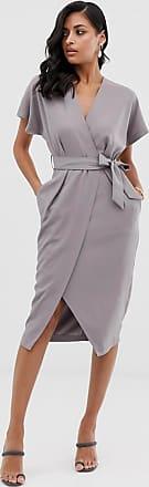 Closet Closet - Kleid mit Wickel- und Bindedetail vorne-Grau