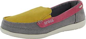 Crocs Womens Walu Suede Loafer Shoes, Canary/Smoke, US 5