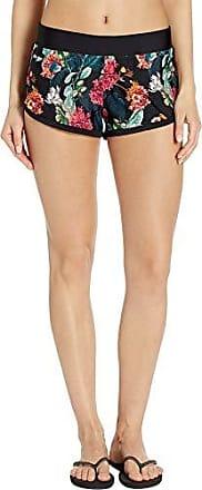 Body Glove Womens Pulse Elastic Waist Hybrid Pull On Swim Short with UPF 50+, Cleo Black Floral, Large