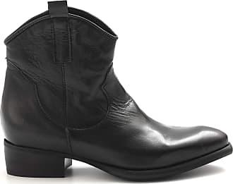 Zoe Black Texan Boots in Soft Leather - New TOPOÙ Black Kangaroo - Size Black Size: 3 UK