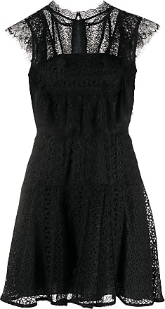 Self Portrait lace panel mini dress - Black