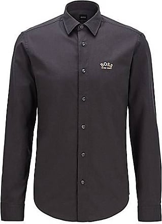 BOSS Regular-fit shirt in stretch cotton with colourful curved logo