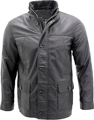 Infinity Mens Classic Warm Black Leather Jacket XS