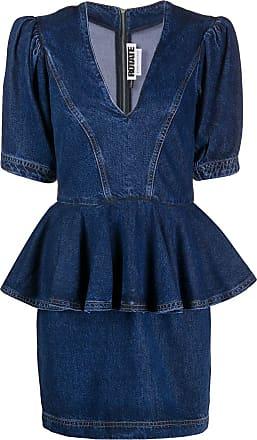 Rotate Vestido gola V com amarração - Azul