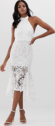 Asos Hoogsluitende midi-jurk van kant met peplum-Wit