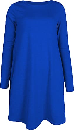 Re Tech UK Womens Ladies Long Sleeve Midi Plain Flared A line Skater Swing Dress Jersey Tee Royal Blue