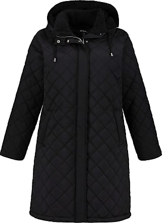 Ulla Popken Womens Plus Size Diamond Quilted Removable Hood Jacket Black 28/30 725267 10-54+