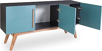 Odin Buffet Monclar com 3 Portas 135 cm Preto Preto e Azul AgathaPreto e Azul Agatha