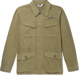 Aspesi Logo-appliquéd Cotton-twill Field Jacket - Green
