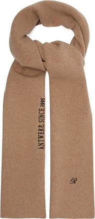 Raf Simons Logo And Text-embroidered Wool-blend Scarf - Womens - Camel