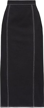 Alexander McQueen Alexander Mcqueen - Topstitched Pleated-back Denim Skirt - Womens - Black
