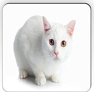 Rikki Knight Rikki Knight Beautiful White Cat with Orange Eyes Design Square Fridge Magnet