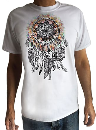 Irony Mens White T-Shirt Tribal Red Indian Native American Feathers Culture Novelty Neck TS540 (XXLarge)