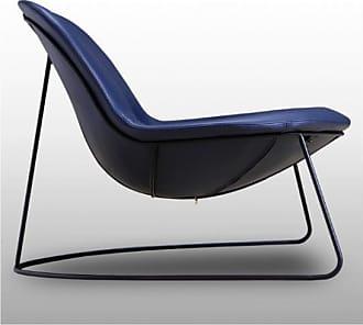 Mathi Design DUCK - Fauteuil contemporain en simili cuir bleu