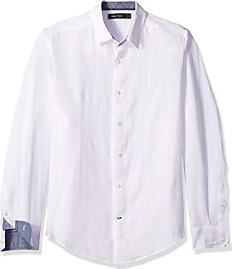 Nautica Mens Classic Fit Long Sleeve Solid Linen Shirt, Bright White X-Large