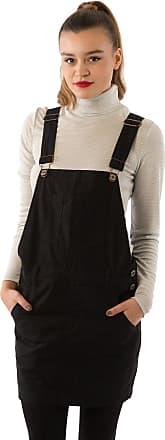 Uskees Oversized Short Black Denim Dungaree Dress Bib-Skirt Bib-Overall Pinafore CICELYBLACK-18