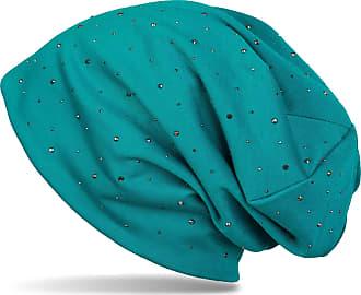 styleBREAKER Noble Beanie hat with Rhinestone Rivet Application, Unisex 04024037, Colour:Petrol