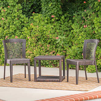 BEST SELLING HOME Avery Wicker 3 Piece Outdoor Stacking Chair Chat Set - 300955