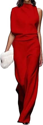 H&E Womens Casual Solid Color Summer Sleeveless Wide Leg Bodysuit Jumpsuit Wine Red M
