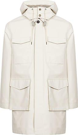 Reiss Archer - Four Pocket Mac With Detachable Hood in White, Mens, Size XXL