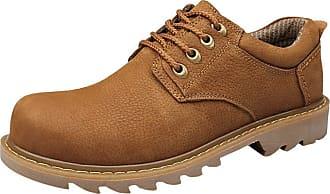 Insun Mens Padded Collar Plain Toe Oxford Shoes Light Brown UK 10.5