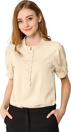 Allegra K Women/'s Ruffle Neck Blouse Cap Sleeves Button Placket Loose Top Shirt