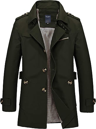 Whatlees Men Long Winter Coats Wear Soft Trench Coat with Button Bar Function Green 01130005Xarmygreen+L
